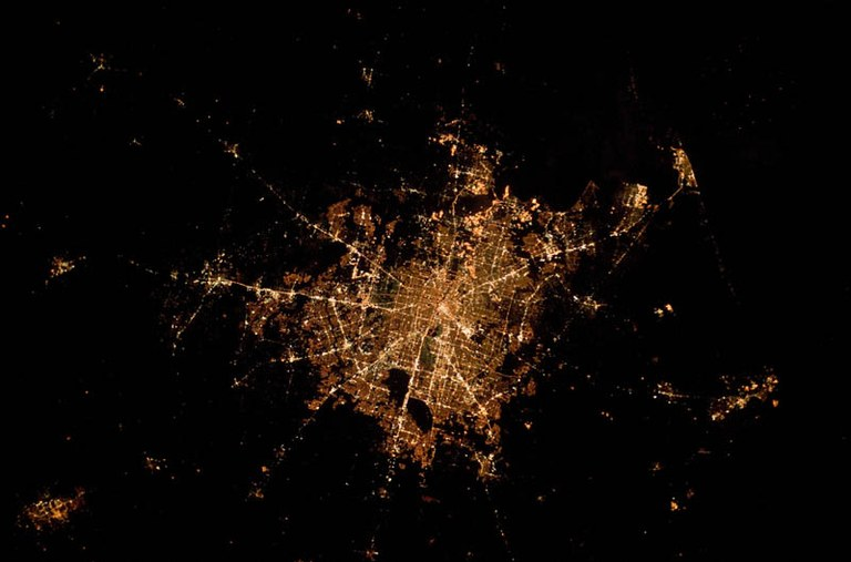 Houston Texas at Night Viewed from Space