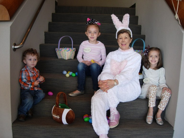 Easter Bunny Sandy Pickett and her little friends at the Easter egg hunt
