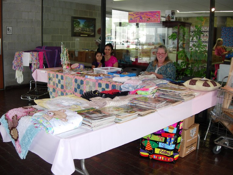 Lost Arts Club members demonstrating their sewing and knitting skills at the Jubilee